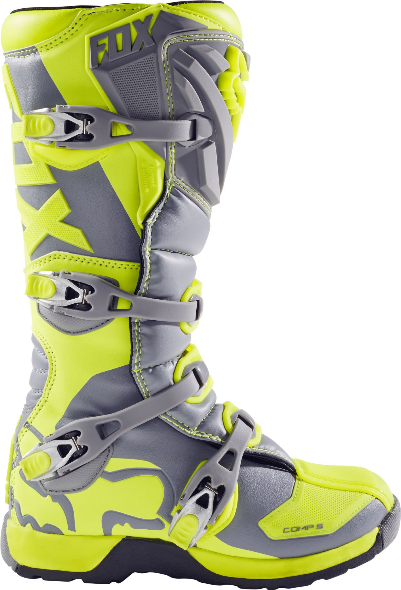 Fox Comp5 Adult Grey Yellow Motocross Boots 2017